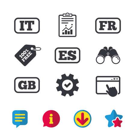 Taalpictogrammen. IT, ES, FR en GB-vertaalsymbolen. Talen van Italië, Spanje, Frankrijk en Engeland. Browservenster, rapport en serviceborden. Verrekijker, informatie en download pictogrammen. Sterren en chatten