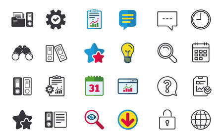 Accounting icons. Document storage in folders sign symbols. Chat, Report and Calendar signs. Stars, Statistics and Download icons. Question, Clock and Globe. Vector Stock Vector - 83167914