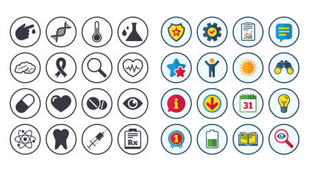 Set of Healthcare, Medicine and Diagnosis icons. Tooth, Pills and Syringe signs. Brain, Blood test and Thermometer symbols. Calendar, Report and Book signs. Stars, Service and Download icons. Vector Reklamní fotografie - 83232104