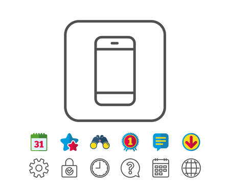 touch screen phone: Smartphone icon. Cellphone or Phone sign. Ð¡ommunication Mobile device symbol. Calendar, Globe and Chat line signs. Binoculars, Award and Download icons. Editable stroke. Vector