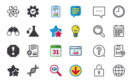 Attention and DNA icons. Chemistry flask sign. Atom symbol. Chat, Report and Calendar signs. Stars, Statistics and Download icons. Question, Clock and Globe. Vector