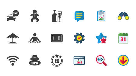 Hotel, apartment service icons. Spa, swimming pool signs. Alcohol drinks, wifi internet and safe symbols. Calendar, Report and Download signs. Stars, Service and Search icons. Vector Illustration