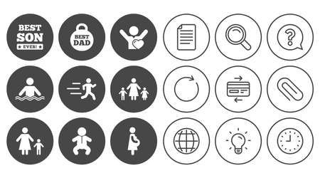 People, family icons. Swimming, baby and pregnant woman signs. Best dad, runner and fan symbols. Document, Globe and Clock line signs. Lamp, Magnifier and Paper clip icons. Vector Illustration