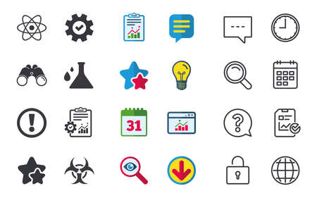 Attention and biohazard icons. Chemistry flask sign. Atom symbol. Chat, Report and Calendar signs. Stars, Statistics and Download icons. Question, Clock and Globe. Vector