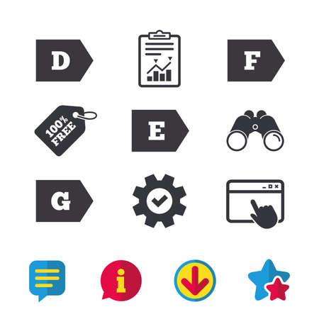 Energy efficiency class icons. Energy consumption sign symbols. Class D, E, F and G. Browser window, Report and Service signs. Binoculars, Information and Download icons. Stars and Chat. Vector