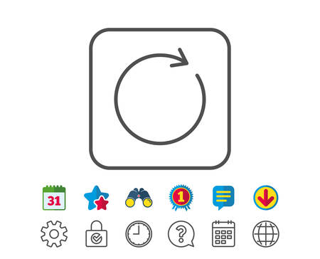 Refresh line icon. Rotation arrow sign. Reset or Reload symbol. Calendar, Globe and Chat line signs. Binoculars, Award and Download icons. Editable stroke. Vector