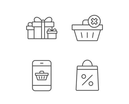 Gift box, Discount and Sale line icons. Shopping cart symbol. Online buying. Quality design elements. Editable stroke. Vector.