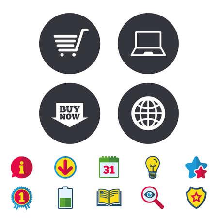 オンライン ショッピングのアイコン。ノート pc、ショッピングカート、今矢印とインターネットの兆候を購入します。WWW 世界のシンボルです。カレ  イラスト・ベクター素材