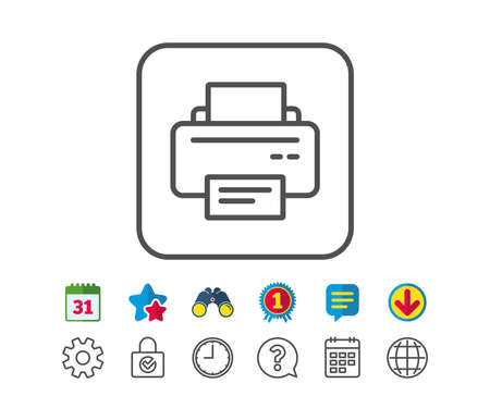 Printer icon. Printout Electronic Device sign. Office equipment symbol. Calendar, Globe and Chat line signs. Binoculars, Award and Download icons. Editable stroke. Vector