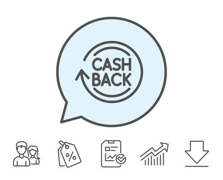 Cashback service line icon. Money transfer sign. Rotation arrow symbol. Report, Sale Coupons and Chart line signs. Download, Group icons. Editable stroke. Vector Illustration