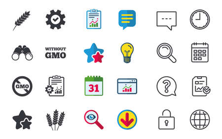 Agricultural icons. Gluten free or No gluten signs. Without Genetically modified food symbols. Chat, Report and Calendar signs. Stars, Statistics and Download icons. Question, Clock and Globe. Vector