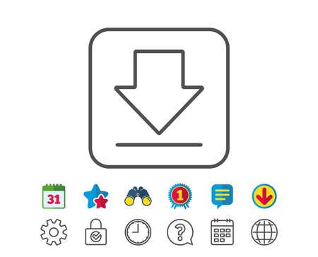 Download lijnpictogram. Internet downloaden teken. Laad bestandssymbool. Agenda-, wereldbol- en chatlijnborden. Verrekijker, Award en Download pictogrammen. Bewerkbare lijn. Vector
