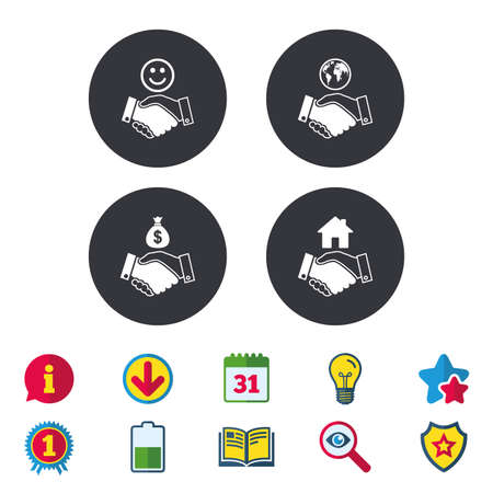 Handshake icons. World, Smile happy face and house building symbol. Dollar cash money bag. Amicable agreement. Calendar, Information and Download signs. Stars, Award and Book icons. Vector
