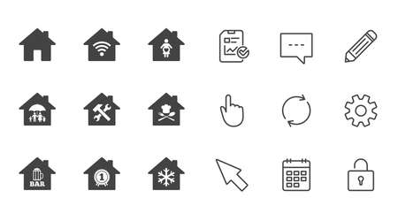 Real estate icons. Home insurance, maternity hospital and wifi internet signs. Restaurant, service and air conditioning symbols. Chat, Report and Calendar line signs. Service, Pencil and Locker icons