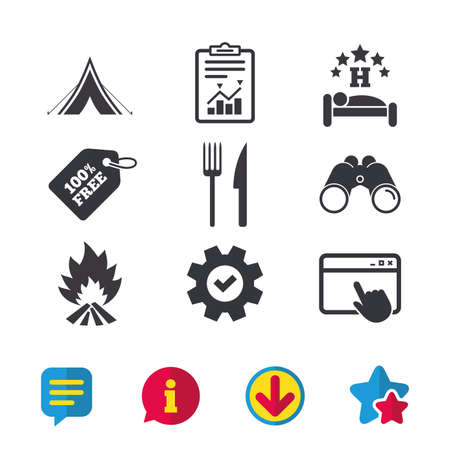 Food, sleep, camping tent and fire icons. Knife and fork. Hotel or bed and breakfast. Road signs. Browser window, Report and Service signs. Binoculars, Information and Download icons. Stars and Chat Illustration