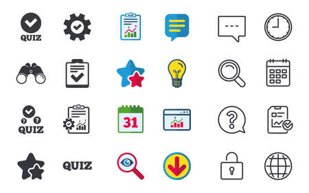 checklist: Quiz icons. Checklist with check mark symbol. Survey poll or questionnaire feedback form sign. Chat, Report and Calendar signs. Stars, Statistics and Download icons. Question, Clock and Globe. Vector Illustration