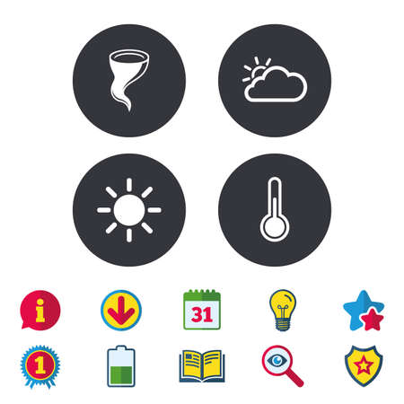 Weather icons. Cloud and sun signs. Storm symbol. Thermometer temperature sign. Calendar, Information and Download signs. Stars, Award and Book icons. Light bulb, Shield and Search. Vector
