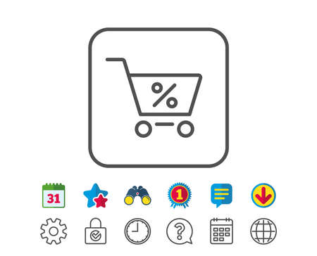 gift basket: Shopping cart with Percentage line icon. Online buying sign. Supermarket basket symbol. Calendar, Globe and Chat line signs. Binoculars, Award and Download icons. Editable stroke. Vector