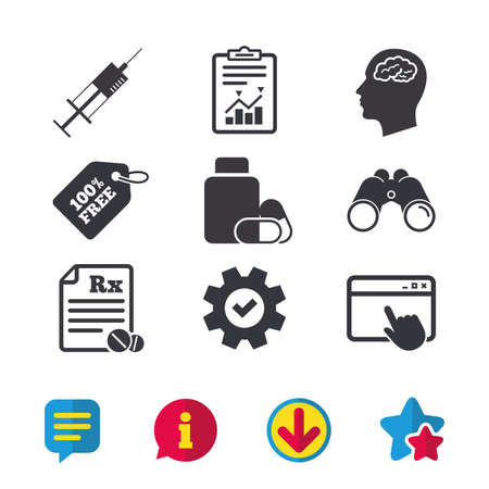 Medicine icons. Medical tablets bottle, head with brain, prescription Rx and syringe signs. Pharmacy or medicine symbol. Browser window, Report and Service signs. Vector Illustration