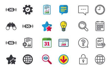 모바일 통신 아이콘입니다. 3G, 4G 및 5G 기술 기호. 세계 글로브 기호입니다. 채팅, 신고 및 캘린더 표지판. 별, 통계 및 다운로드 아이콘. 질문, 시계 및