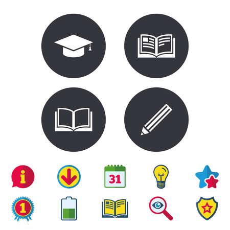 鉛筆と開いている本のアイコン。卒業キャップ記号です。高等教育は、標識を学ぶ。カレンダー、情報およびダウンロードに署名します。星、賞お