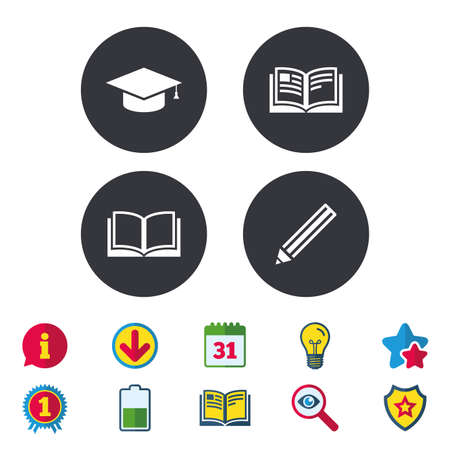 Pencil and open book icons. Graduation cap symbol. Higher education learn signs. Calendar, Information and Download signs. Stars, Award and Book icons. Light bulb, Shield and Search. Vector Ilustração