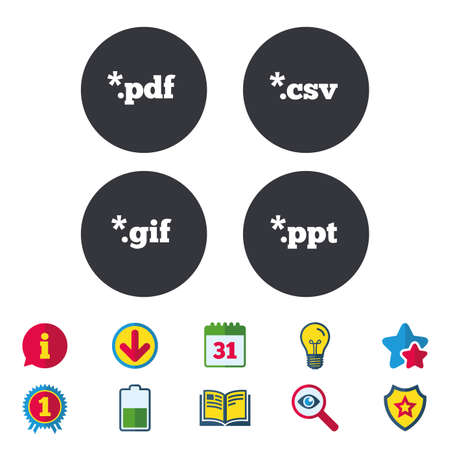 Document icons. File extensions symbols. PDF, GIF, CSV and PPT presentation signs. Calendar, Information and Download signs. Stars, Award and Book icons. Light bulb, Shield and Search. Vector