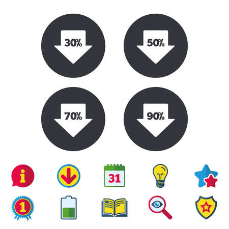 50 off: Sale arrow tag icons. Discount special offer symbols. 30%, 50%, 70% and 90% percent discount signs. Calendar, Information and Download signs. Stars, Award and Book icons. Light bulb, Shield and Search Illustration