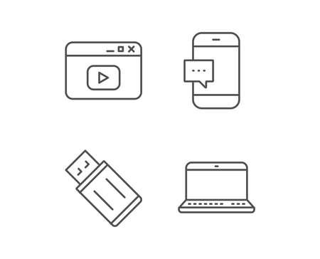 Cuaderno, unidad flash USB y los iconos de línea de la ventana del navegador. Señal de comunicación de teléfono inteligente. Dispositivos informáticos. Elementos de diseño de calidad. Trazo editable. Vector Foto de archivo - 83140514