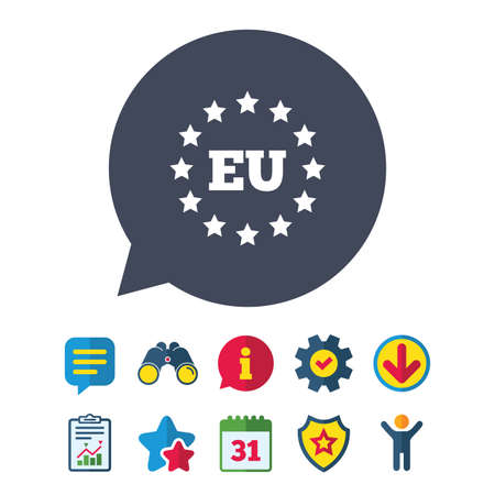 trade union: European union icon. EU stars symbol. Information, Report and Speech bubble signs. Binoculars, Service and Download, Stars icons. Vector