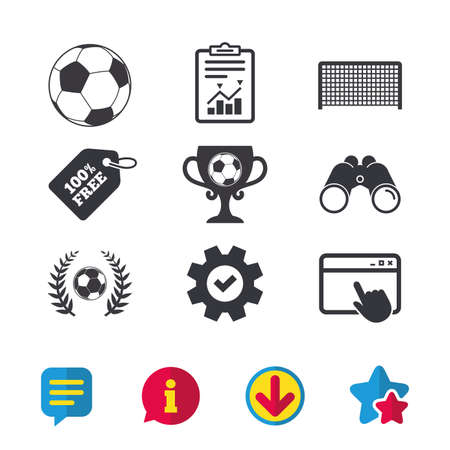 Voetbal pictogrammen. Voetbal sport teken. Keeper poort symbool. Winnaar award beker en lauwerkrans. Browservenster, rapport en serviceborden. Verrekijker, informatie en download pictogrammen. Sterren en chatten Stock Illustratie