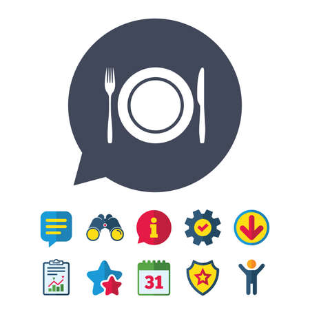 Plate dish with fork and knife. Eat sign icon. Cutlery etiquette rules symbol. Information, Report and Speech bubble signs. Binoculars, Service and Download, Stars icons. Vector