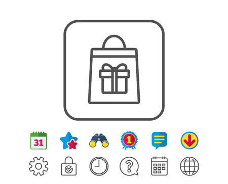 Shopping bag with Gift box line icon. Present or Sale sign. Birthday Shopping symbol. Package in Gift Wrap. Calendar, Globe and Chat line signs. Binoculars, Award and Download icons. Editable stroke