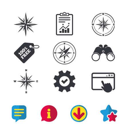 Iconos de navegación de Windrose. Símbolos de la brújula Signo del sistema de coordenadas Ventana del navegador, signos de Informe y Servicio. Binoculares, información y descargar iconos. Estrellas y charla. Vector Foto de archivo - 83364844