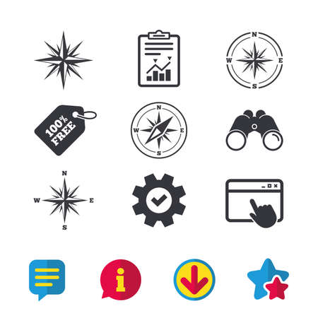 Windrose navigation icons. Compass symbols. Coordinate system sign. Browser window, Report and Service signs. Binoculars, Information and Download icons. Stars and Chat. Vector Ilustracja
