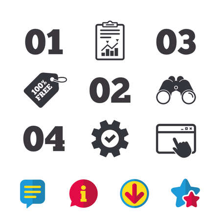 Step one, two, three and four icons. Sequence of options symbols. Loading process signs. Browser window, Report and Service signs. Binoculars, Information and Download icons. Stars and Chat. Vector Иллюстрация