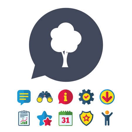 Tree sign icon. Forest symbol. Information, Report and Speech bubble signs. Binoculars, Service and Download, Stars icons. Vector Illustration