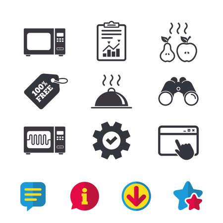 전자 레인지 그릴 오븐 아이콘입니다. 사과와 배 표지판 요리. 음식 플래터 봉사 기호입니다. 브라우저 창, 보고서 및 서비스 표지판. 쌍안경, 정보 및