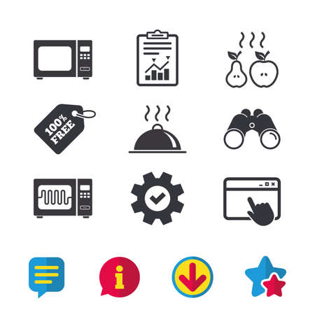 Microwave grill oven icons. Cooking apple and pear signs. Food platter serving symbol. Browser window, Report and Service signs. Binoculars, Information and Download icons. Stars and Chat. Vector Illustration