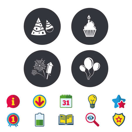 Birthday party icons. Cake, balloon, hat and muffin signs. Fireworks with rocket symbol. Cupcake with candle. Calendar, Information and Download signs. Stars, Award and Book icons. Vector