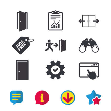 Automatic door icon. Emergency exit with human figure and arrow symbols. Fire exit signs. Browser window, Report and Service signs. Binoculars, Information and Download icons. Stars and Chat. Vector