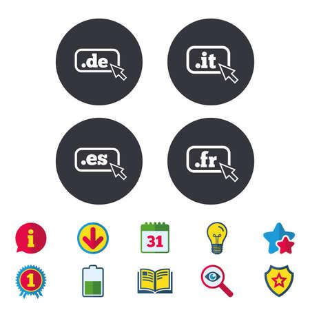 Top-level internet domein pictogrammen. De, It, Es en Fr symbolen met cursoraanwijzer. Unieke nationale DNS-namen. Kalender, informatie en downloadborden. Pictogrammen voor sterren, awards en boeken. Vector Stock Illustratie