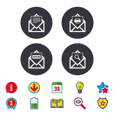 webmail: Mail envelope icons. Print message document symbol. Post office letter signs. Spam mails and search message icons. Calendar, Information and Download signs. Stars, Award and Book icons. Vector Illustration