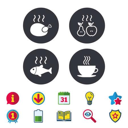 Icone di cibo caldo. Griglia i simboli di pollo e pesce. Segno di tazza di caffè caldo. Cuocere o friggere i frutti di mela e pera. Segni di calendario, informazioni e download. Icone di stelle, premi e libri. Vettore Archivio Fotografico - 83365212