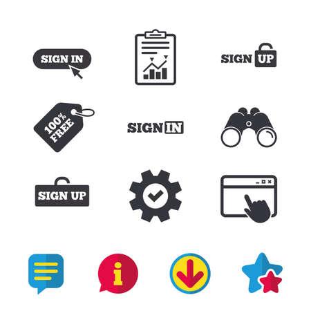 Aanmelden pictogrammen. Login met pijl, hand aanwijzer symbolen. Navigatietekens voor websites of apps. Meld je aan locker. Browservenster, rapport en serviceborden. Verrekijker, informatie en download pictogrammen. Vector Stockfoto - 83365234
