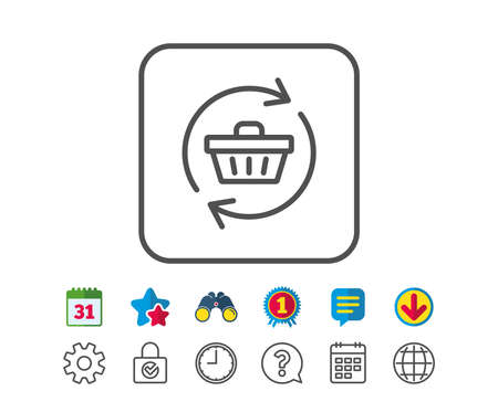 Update Shopping cart line icon. Online buying sign. Supermarket basket symbol. Calendar, Globe and Chat line signs. Binoculars, Award and Download icons. Editable stroke. Vector
