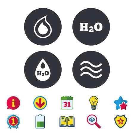 H2O Icone a goccia d'acqua. Simboli goccia goccia o olio. Segni di calendario, informazioni e download. Icone di stelle, premi e libri. Lampadina, scudo e ricerca. Vettore Archivio Fotografico - 83365239