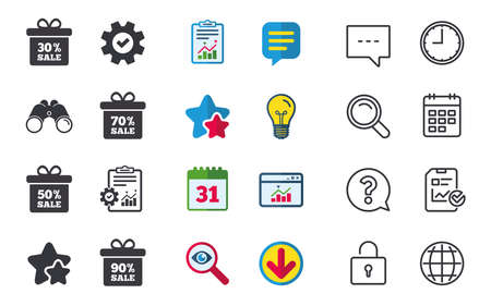 50 off: Sale gift box tag icons. Discount special offer symbols. 30%, 50%, 70% and 90% percent sale signs. Chat, Report and Calendar signs. Stars, Statistics and Download icons. Question, Clock and Globe Illustration