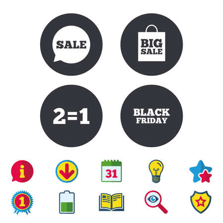 Sale speech bubble icons. Two equals one. Black friday sign. Big sale shopping bag symbol. Calendar, Information and Download signs. Stars, Award and Book icons. Light bulb, Shield and Search. Vector Illustration