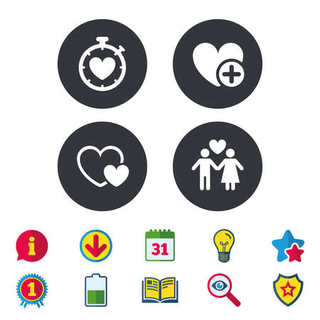 Valentine day love icons. Love heart timer symbol. Couple lovers sign. Add new love relationship. Calendar, Information and Download signs. Stars, Award and Book icons. Light bulb, Shield and Search Illusztráció